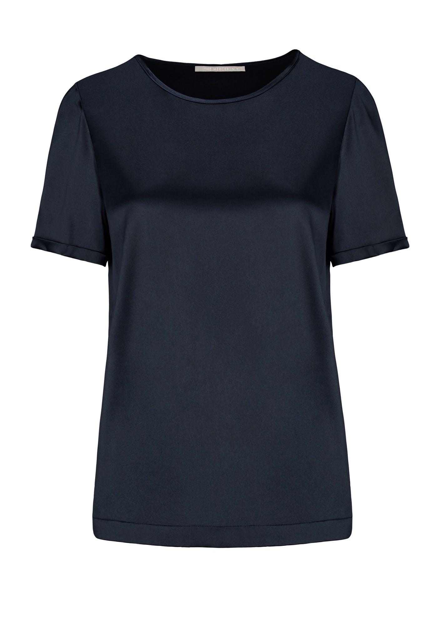 Satinsilk Shirt mit feinem Umschlag am Ärmelsaum - Navy