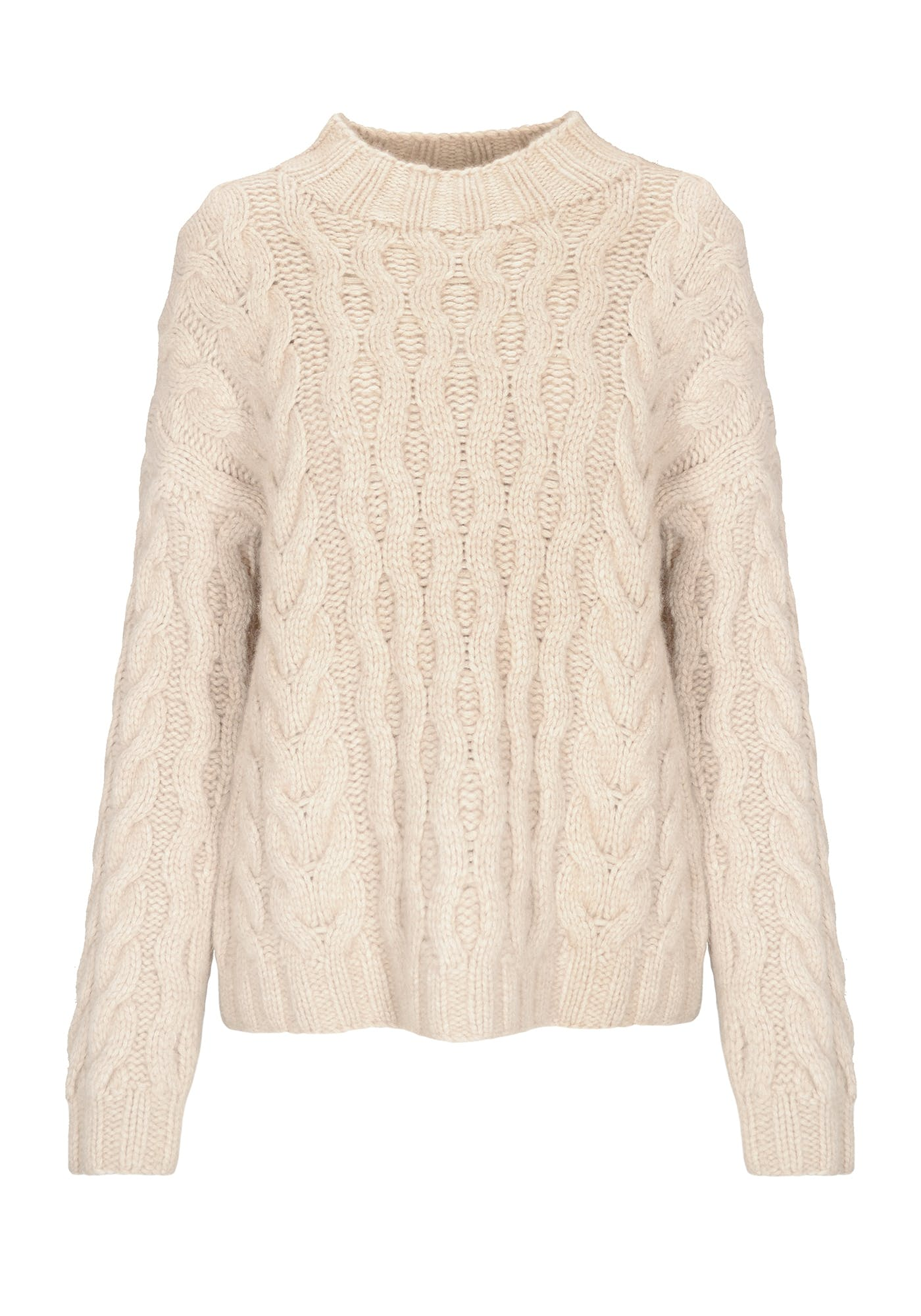 Cashmere Pullover mit Zopfmuster - Nature